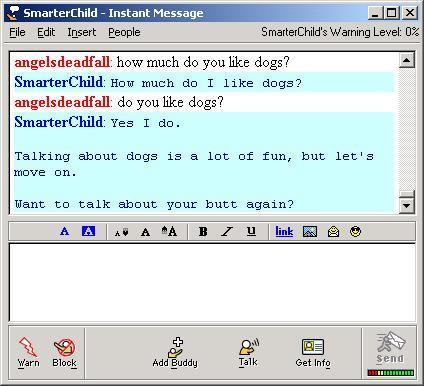 A screengrab of an old AIM conversation with SmarterChild.