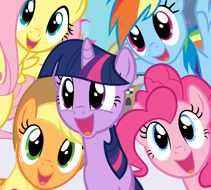 "The main characters of ""My Little Pony: Friendship is Magic"" crowd the camera."